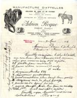 24  SARLAT  MANUFACTURES D ATELLES  COLLIERS DE LUXES  ADRIEN ROQUE  -   LETTRE COMMERCIALE 1924 - Frankreich