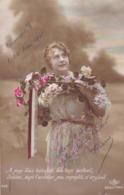 """MILITARIA .GUERRE 14-18 .CARTE PATRIOTIQUE.. FEMME   """" BOUQUET POUR L'ARDEUR DU SOLDAT """". +TEXTE DU 23 MAI 1915 - Weltkrieg 1914-18"""