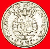 + PORTUGAL (1938-1951): COLONY OF MOZAMBIQUE ★ 2.50 ESCUDOS 1950 SILVER! LOW START ★ NO RESERVE! - Mozambique