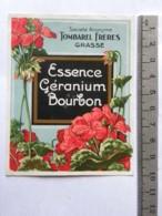 Etiquette De Parfum - Tombarel Frères - Grasse - Essence De Géranium Bourbon - Etichette