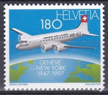 Schweiz Switzerland Helvetia 1997 Luftfahrt Aviation Flugzeuge Aeroplanes Douglas DC-4 Swissair Atlantik, Mi. 1609 ** - Schweiz