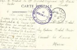 40-cachet Hôpital Aux.N°72 Bis De Tartas Sur CP De 1915 - Marcophilie (Lettres)