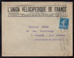 UNION VELOCIPEDIQUE DE FRANCE - PARIS / 1925 ENVELOPPE A ENTÊTE POUR VALDOIE (ref LE3716) - Ciclismo