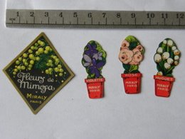 Etiquettes De Parfum - Lot De 4 - MIRALY PARIS - Fleurs De Mimosa, Rose, Muguet Et Violette - Etiquettes