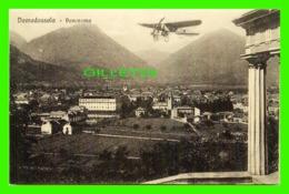 DOMODOSSOLA, ITALIA - OLD PLANE OVER THE CITY - PANORAMNA - Es. A. PIROLA - - Verbania