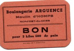 32 MONTFORT DU GERS BOULANGERIE GUERRE RATIONNEMENT TICKET HOMPS - Historical Documents