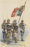 Infanterie De Ligne - Grande Tenue D'été -drapeau Et Sa Garde-  Signée - Uniformi