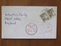 Zimbabwe 2000 Cover To England - Victoria Falls (Scott 852 X2 = 5.5 $) - Tax Due Cancel - Zimbabwe (1980-...)
