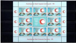 Azerbaijan 2010 . Red Cross - 90. Sheetlet Of 8 + Label.  Michel # 790  KB - Aserbaidschan