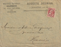 Jemappes - Brasserie Du Pont Beumier - Auguste Beumier - Enveloppe Commerciale à Entête 1907 - Belgique