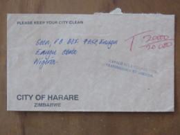 Zimbabwe 2003 Cover Harare To Nigeria - Tax Due Cancel - Zimbabwe (1980-...)