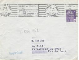 LORIENT Ppal RBV 1954 DREYFUSS (LOR252) En 1994 Côte 50F MANGEZ DU POISSON DE LORIENT Bateau Chalutier Pêche - Oblitérations Mécaniques (flammes)
