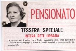 """BIGL--00067-- ABBONAMENTO TESSERA GRATUITA PER PENSIONATI- """"RETE URBANA A.T.M. TORINO-VALIDA PER VIAGGI GRATUITI - Europa"""