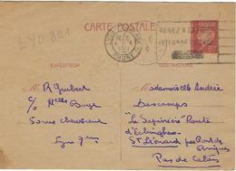 LYON TERREAUX FLIER 1941 DREYFUSS (LYO801) En 1994 Côte 180F VENEZ A LA FOIRE INTERNATIONALE DE LYON - Oblitérations Mécaniques (flammes)