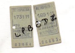 TICKETS ANCIENS - METROPOLITAIN - PARIS - STATION MAINE Et STATION MONTPARNASSE   Valable1 Jour - Subway
