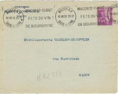 MACON RP KRAG 1933 DREYFUSS (MAC224) En 1994 Côte 250F MACON 12-15 AOUT FETE DU VIN DE BOURGOGNE DEVANT SEUL - Oblitérations Mécaniques (flammes)