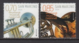 2014 San Marino Musical Instruments Europa   Complete  Set Of 2 MNH  @ BELOW FACE VALUE - Ongebruikt
