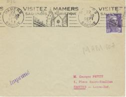 MAMERS RBV 1954 DREYFUSS (MAM107) En 1994 Côte 50F VISITEZ MAMERS ET LE SAONOIS TOURISTIQUE DEVANT SEUL - Oblitérations Mécaniques (flammes)