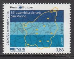 2014 San Marino Europost Maps      Complete  Set Of 1 MNH  @ BELOW FACE VALUE - San Marino