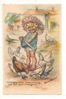 """G BOURET Illustrateur """"MANGEZ DONC VOUS N'SAVEZ PAS QUI VOUS MANGERA"""" Enfants Poules Paysan  Humour - Bouret, Germaine"""