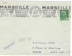 MARSEILLE REPUBLIQUE RBV 1951 DREYFUSS (MAR893) En 1994 Côte 60F MARSEILLE LE PORT DES PRIMEURS - Oblitérations Mécaniques (flammes)