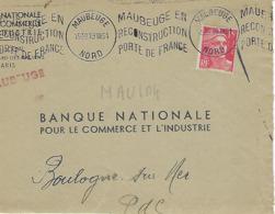 MAUBEUGE KRAG 1951 DREYFUSS (MAU104) En 1994 Côte 30F MAUBEUGE EN CONSTRUCTION PORTE DE FRANCE DEVANT SEUL - Oblitérations Mécaniques (flammes)