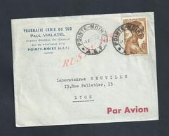 LETTRE COMMERCIALE PHARMACIE CROX DU SUD PAUL VIALATEL SUR TIMBRE  POINTE NOIRE OB A E F : - France (former Colonies & Protectorates)