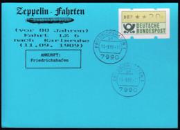Germany 1989 / Zeppelin Fahrten Nach Karlsruhe -  11.09.1909 - LZ 6 - Friedrichshafen 11.-9.89 - Zeppelins