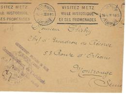 METZ SYLBE ET PONDORF 1928 DREYFUSS (MET303) En 1994 Côte 60FVILLE HISTORIQUE PROMANADES Franchise Militaire DEVANT SEUL - Oblitérations Mécaniques (flammes)