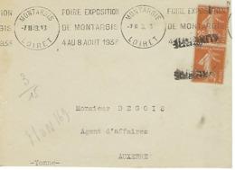 MONTARGIS KRAG 1933 DREYFUSS (MON169) En 1994 Côte 100FDEVANT SEUL FOIRE EXPOSITION DE MONTARGIS 1933 GRIFFE AUXERRE - Oblitérations Mécaniques (flammes)