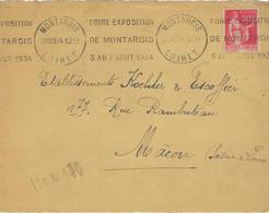 MONTARGIS KRAG 1934 DREYFUSS (MON170) En 1994 Côte 100FDEVANT SEUL FOIRE EXPOSITION DE MONTARGIS 3 AU 7 AOUT 1934 - Oblitérations Mécaniques (flammes)
