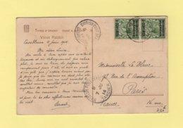 Morocco - Maroc - British Post Office Casablanca - 1914 - Destination Paris - Oficinas En  Marruecos / Tanger : (...-1958