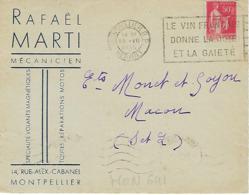 MONLPELLIER FLIER 1935 DREYFUSS (MON641) En 1994 Côte 40F DEVANT SEUL LE VIN FRANCAIS DONNE LA JOIE ET LA GAIETE - Oblitérations Mécaniques (flammes)