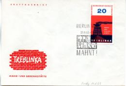 """(DDR-SB) Sonderumschlag """"TREBLINKA - MAHN- UND GEDENKSTÄTTEN"""" EF Mi 975 SSt.29.8.63 BERLIN W8 - Storia Postale"""