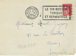MONLPELLIER RP FLIER 1932 DREYFUSS (MON637) En 1994 Côte 40F DEVANT SEUL LE VIN BOISSON TONIQUE ET REPARATICE - Oblitérations Mécaniques (flammes)