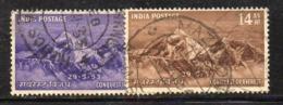 Y232 - INDIA 1953, Yvert N. 44/45  Usato  (2380A)  Everest - 1950-59 Republiek
