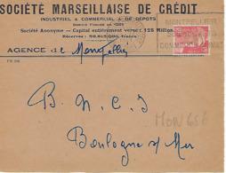 MONTPELLIER CENTALISATEUR FLIER 1949 DREYFUSS (MON656) En 1994 Côte 30F DEVANT SEUL Perforé SM Société Marseillaise De C - Oblitérations Mécaniques (flammes)