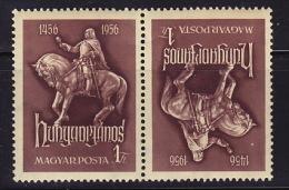 1956  500è Ann Janos Hunyadi  Paire Tête-bêche ** - Hungary