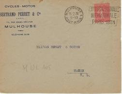 MULHOUSE SYLBE ET PONDORF 1931 DREYFUSS (MUL105) En 1994 Côte 350F DEVANT SEUL EXPOSITION COLONIALE PARIS 1931 - Oblitérations Mécaniques (flammes)