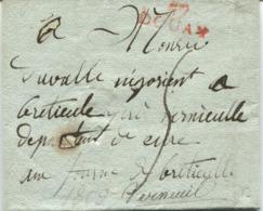 BELGIQUE - LETTRE Préphilatélie - DOUAY 57 - 1809  Pour Monsieur Duvalle Négozient à Verneuil - 1794-1814 (French Period)