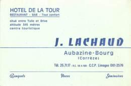 CARTE PUBLICITAIRE HOTEL RESTAURANT DE LA TOUR A AUBAZINE BOURG - Cartoncini Da Visita