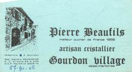 CARTE PUBLICITAIRE ARTISAN CRISTALLIER A GOURDON VILLAGE - Visitenkarten