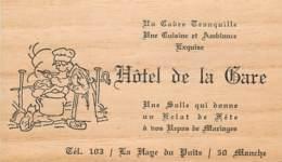 CARTE PUBLICITAIRE HOTEL DE LA GARE A LA HAYE DU PUITS - Visitenkarten