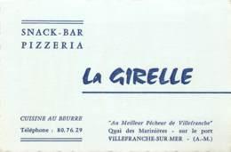CARTE PUBLICITAIRE PIZZERIA LA GIRELLE A VILLEFRANCHE SUR MER - Visitenkarten