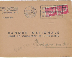 NANTES RP FLIER 1947 DREYFUSS NAN537 En 1994 COTE 80F EXPOSITION INTERNATIONALE HABITATION PARIS DEVANT SEUL - Oblitérations Mécaniques (flammes)