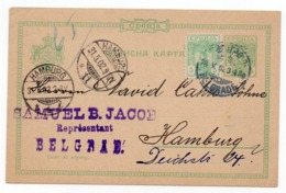 1902 SERBIA, SERBIA JUDAICA, BELGRADE TO HAMBURG, GERMANY, SAMUEL B. JACOB, COMPANY FLAM, USED, STATIONERY CARD - Serbia