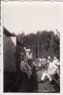 Foto Deutsche Soldaten Im Waldlager - Reparatur Fahrrad -  2. WK - 8*5cm (44179) - Krieg, Militär