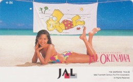 Télécarte Japon / 110-139282 - BD COMICS - SIMPSONS JAL & Femme Girl On Beach - Japan Phonecard - Comics