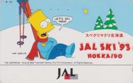 Télécarte Japon / 110-133858 - BD COMICS - SIMPSONS BART - JAL SKI 1993 - Japan Phonecard / Aviation Avion - Comics