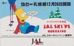 Télécarte Japon / 110-137818 - BD COMICS - SIMPSONS BART - JAL SKI 1993 - Japan Phonecard / Aviation Avion - Comics